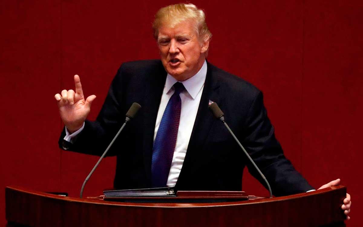 O presidente dos EUA, Donald Trump, discursa na Assembleia Nacional da Coreia do Sul