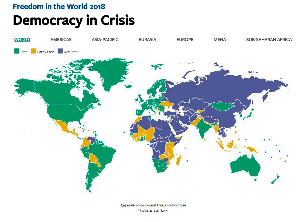 O estudo, lançado todos os anos pela organização independente Freedom House, conclui que 2017 foi o décimo segundo ano consecutivo que em houve uma queda na liberdade mundial