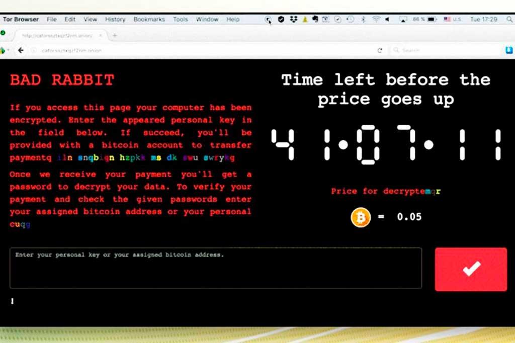 O BadRabbit exige pagamento de 0,05 bitcoin (cerca de 885 reais, segundo a cotação da Bolsa de Nova York) em troca da chave que