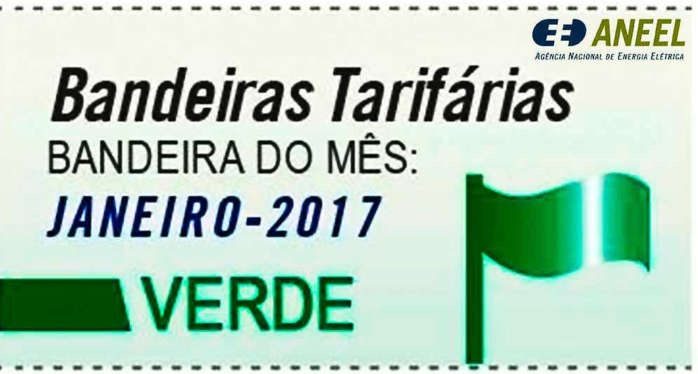 A bandeira tarifária para o mês de janeiro de 2017 é verde