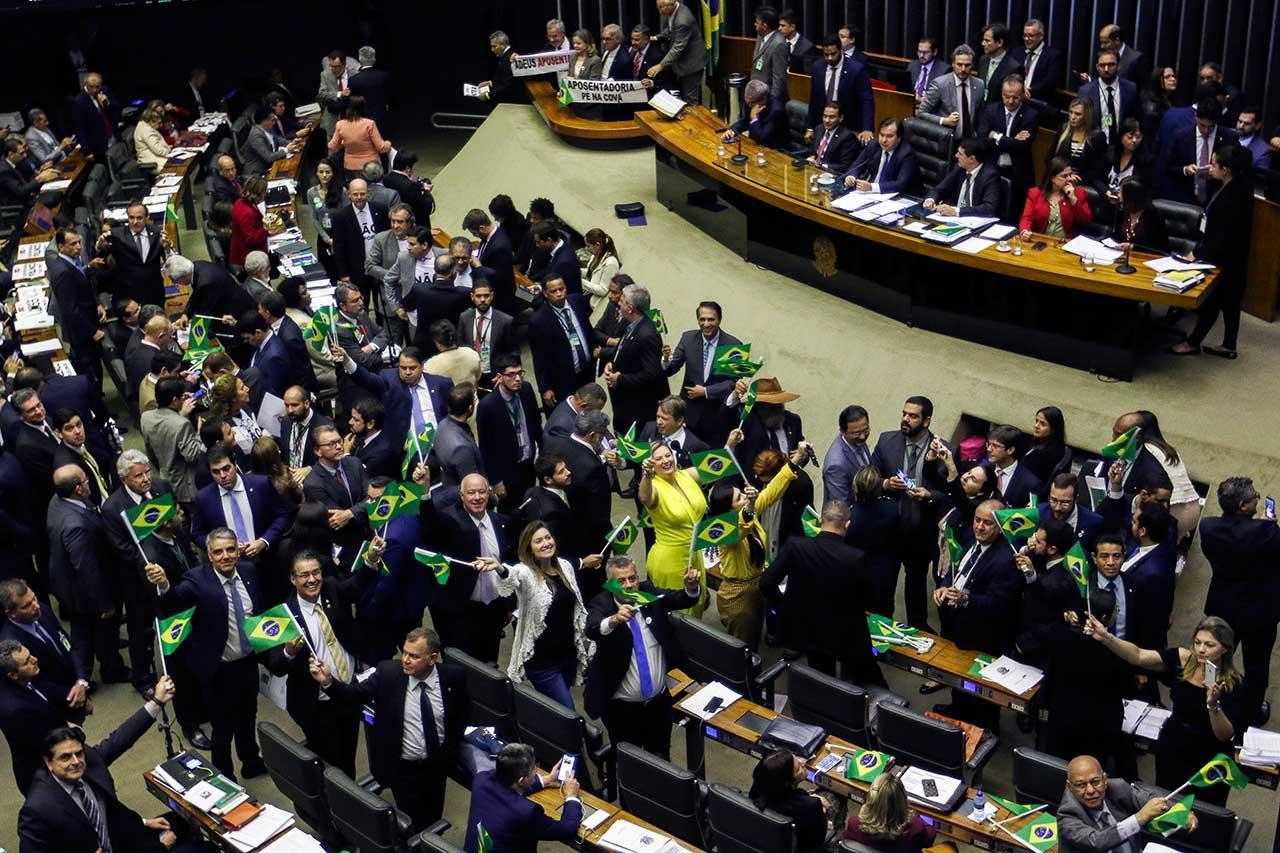Plenário da Câmara na votaçao da reforma da Previdência