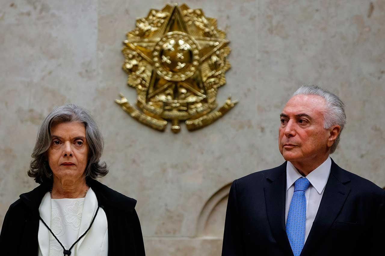 O presidente Michel Temer e a presidente do Supremo Tribunal Federal, Cármen Lúcia, participam da sessão especial de abertura do ano Judiciário 2018