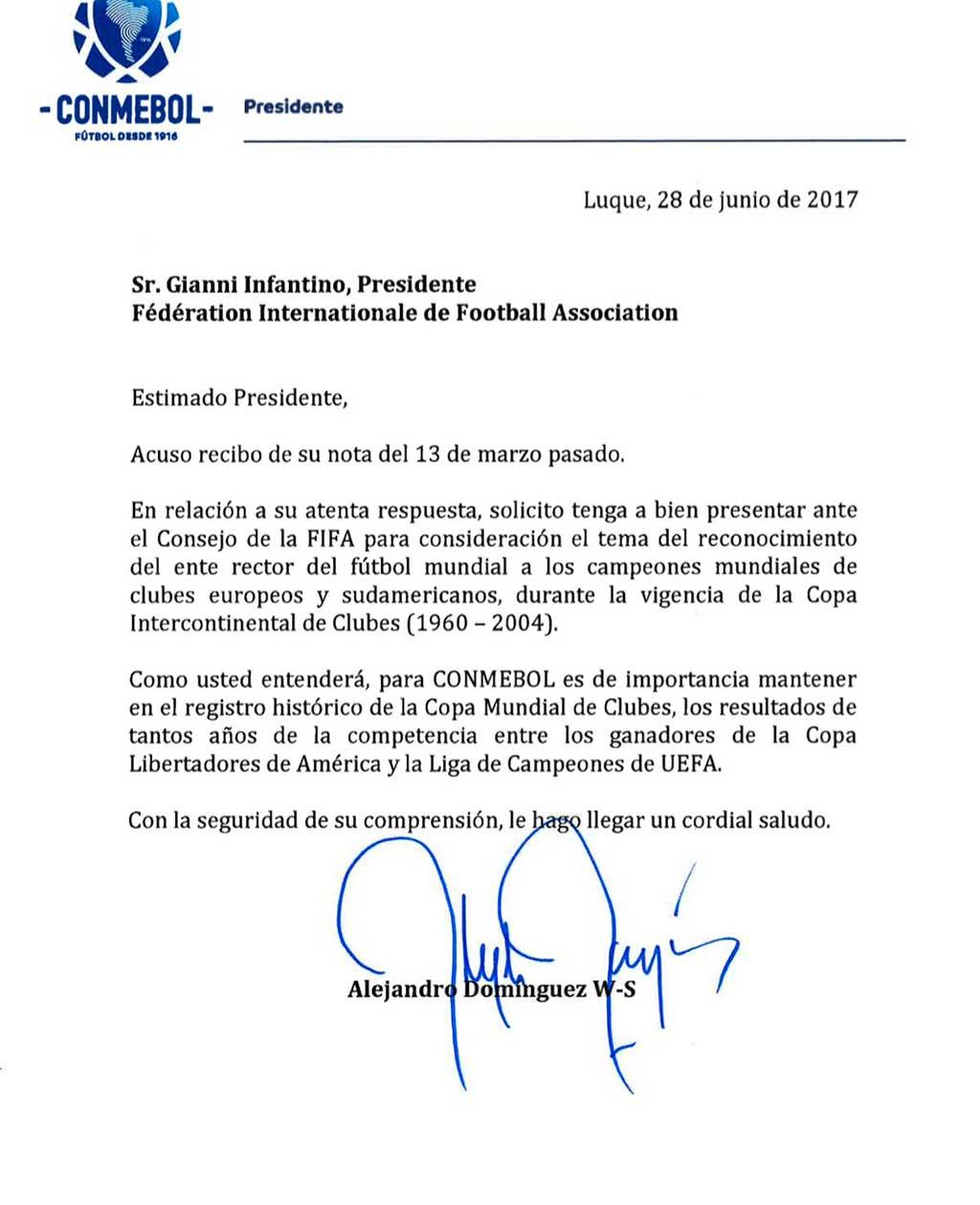 Carta da Conmebol solicitando reconhecimento dos títulos mundiais