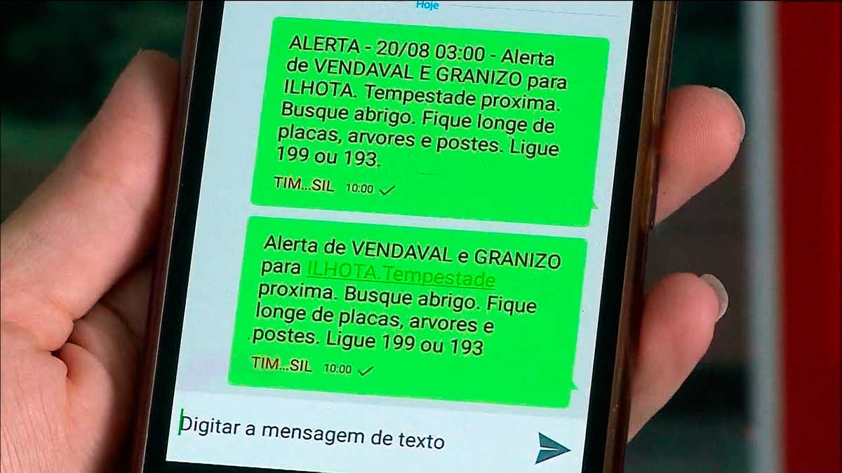 Os usuários cadastrados receberão uma mensagem para avisar dos desastres naturais