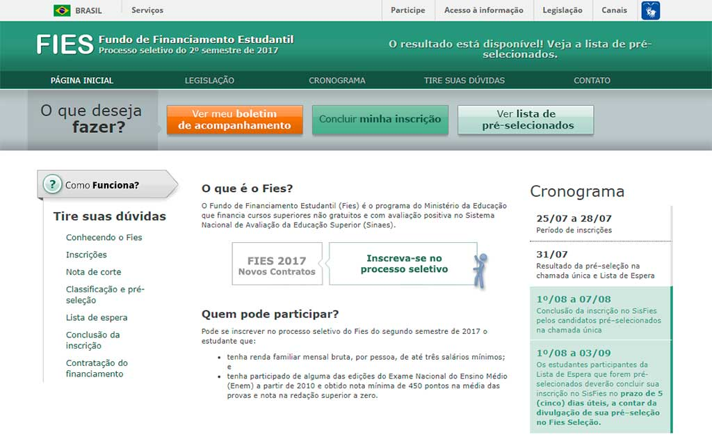 Site do Fies
