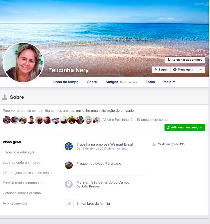 Página Fake de Felicinha Nery no Facebook