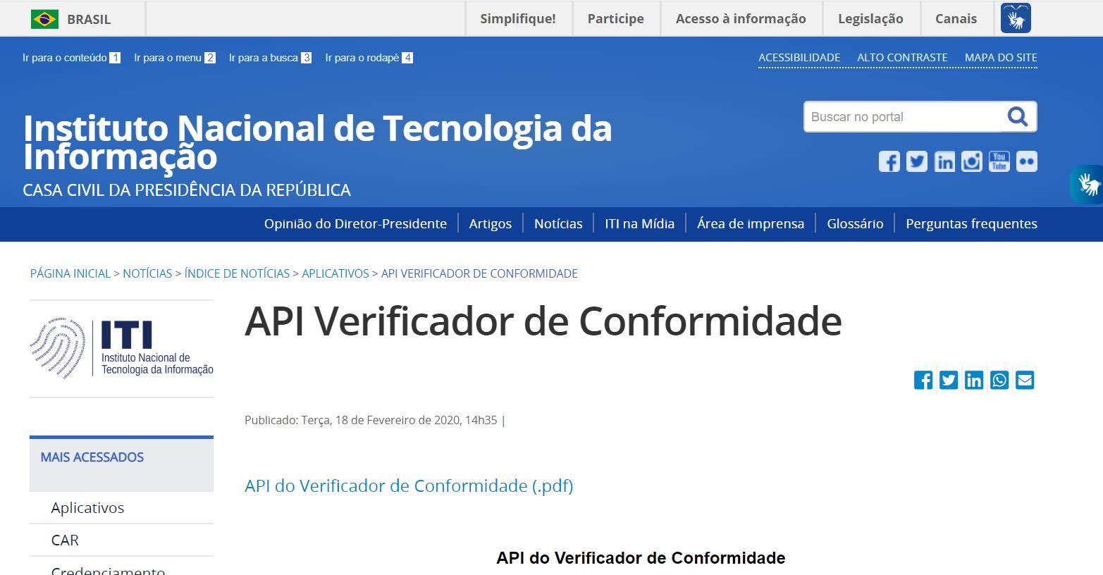 Código-fonte de verificador de assinaturas digitais está disponível para download diretamente no site do ITI