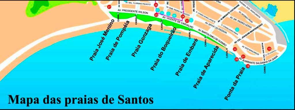 Mapa Praias Santos-SP