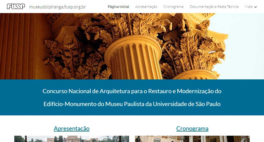 Site do Museu do Ipiranga