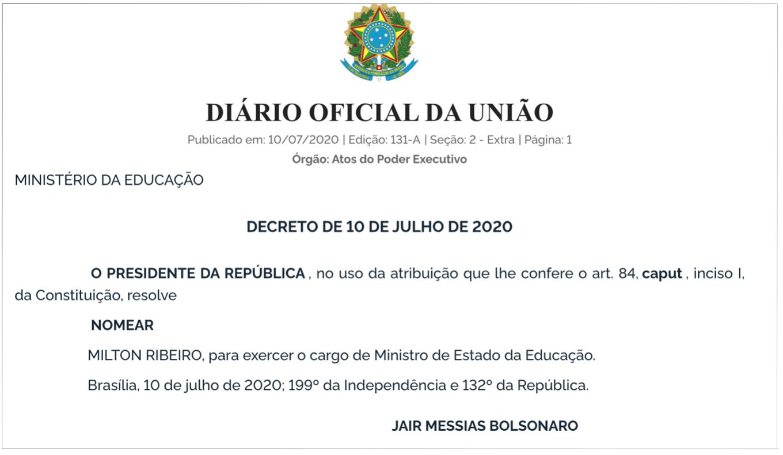 Bolsonaro nomeia Milton Ribeiro Julho 2020