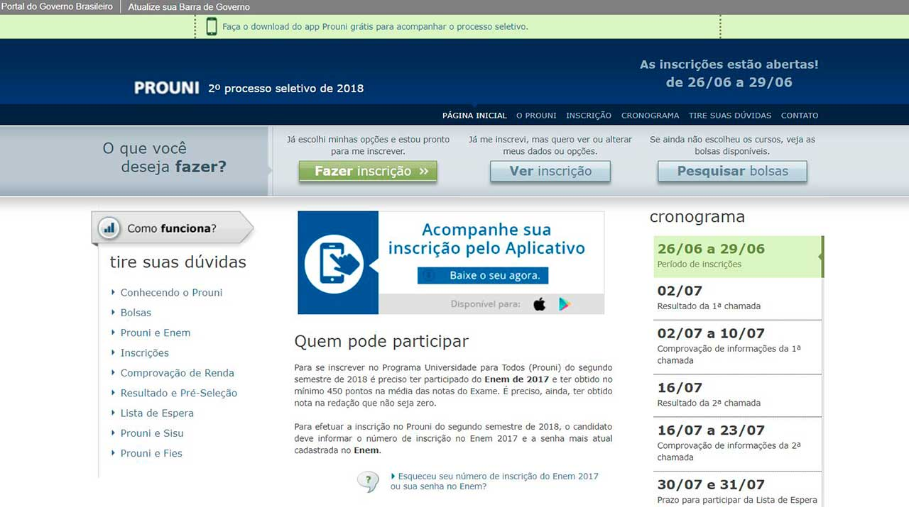 Site do Prouni