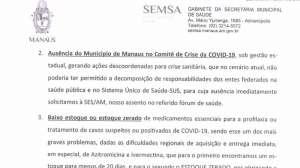 Em ofício enviado em 14 de janeiro ao Ministério da Saúde, Secretaria de Saúde de Manaus diz que ivermectina e azitromicina são