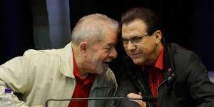 Lula, ex-presidente condenado, e Luis Marinho, presidente do PT no Estado de São Paulo
