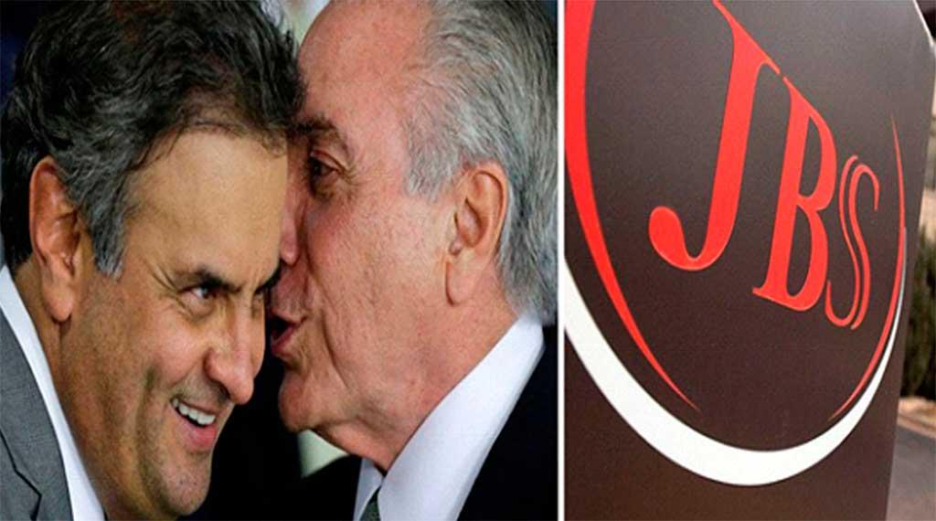 Senador Aécio Neves, afastado, e o presidente Michel Temer