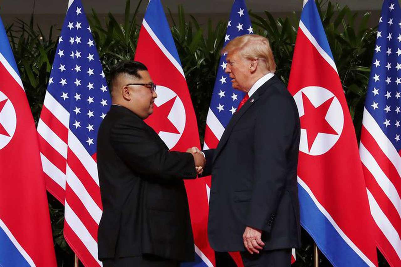 Trump e Kim Jong-Un em encontro realizado em 2018